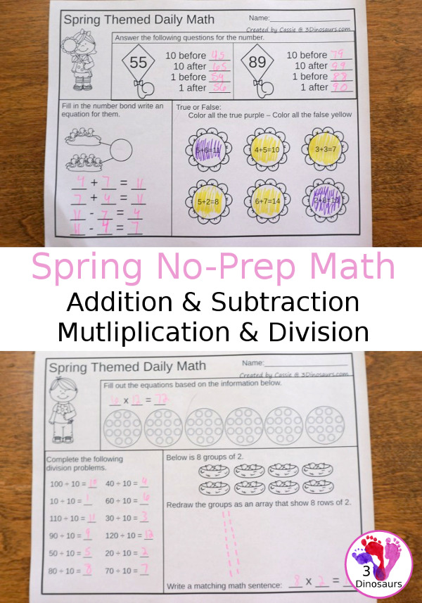 No-Prep Spring No-Prep Math: Addition & Subtraction or Multiplication & Division - 30 pages in each set with review sheets at the end all in a spring theme with no cutting or prep work needed - 3Dinosaurs.com