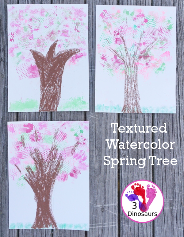 Texture Watercolor Spring Tree Painting - a fun painting activity with textures to make a fun spring themed tree - 3Dinosaurs.com