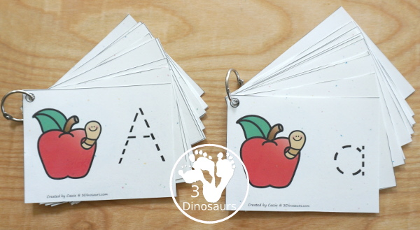 Free Handwriting: ABC Tracing Cards - uppercase and lowercase options with and without pictures for working on tracing letters- 3Dinosaurs.com