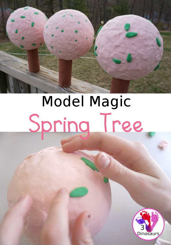 Model Magic Spring Tree - a great spring craft to make for any spring time theme plus a fun way to work in fine motor - 3Dinosaurs.com