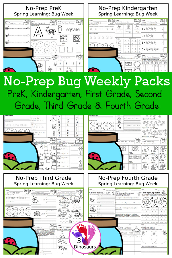 Bug No-Prep Weekly Packs PreK, Kindergarten, First Grade, Second Grade, Third Grade & Fourth Grade with 5 days of activities to do for each grade level - You will find math, language, and more - These are easy to use packs for homework, distance learning, early finisher, and morning work. Easy no-prep printables for kids with four pages for each day - 3Dinosaurs.com