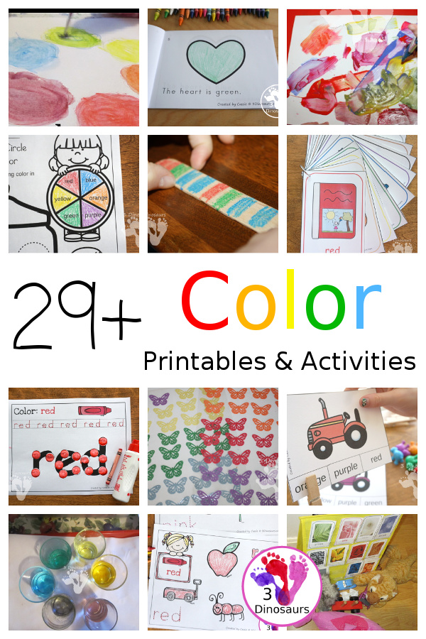 29 + Color Printables & Activities - a fun mix of color crafts, color sensory bins, color no-prep printables, color hands-on printables, color easy reader books and more for working on finding colors and color words - 3Dinosaurs.com