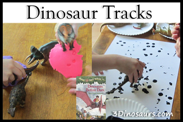 Dinosaur Tracks using paint and paper and toy dinosaurs and playdough