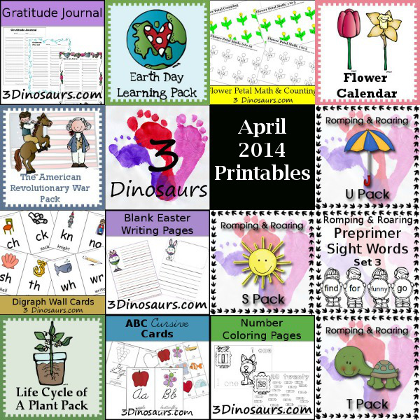 Thank You April 2014 & Free Printables from 3 Dinosaurs