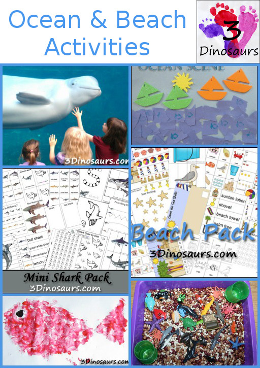 Ocean & Beaches Activities & Printables on 3 Dinosaurs