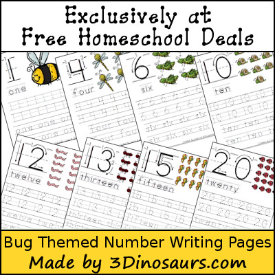 Free Bug Number Writing - 3Dinosaurs.com