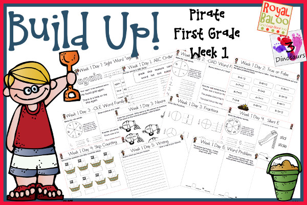 Build Up Summer Learning: Week 1 Pirate - First Grade: Sight Words: again, any, from, some, them; Word Family: -ee, -oad, -ole, -ose, -iles; Math and Language - 3Dinosaurs.com