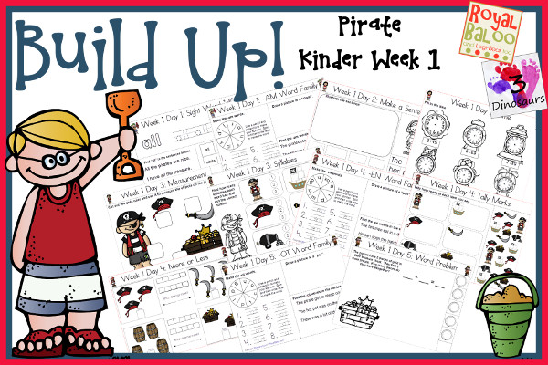 Build Up Summer Learning: Week 1 Pirate - Kinder: Sight Words: all, eat, our, soon, white; Word Family: (The Bug in the Jug Wants a Hug) -am, -un, -id, -en, -ot; Math  and Language- 3Dinosaurs.com