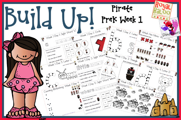Build Up Summer Learning: Week 1 Pirate - PreK: Alphabet: A, B, C, D, E; Sight Words: a, is, little, the, where; Shapes: circle, square, triangle, oval & rectangle; and an extra learning page for each day - 3Dinosaurs.com