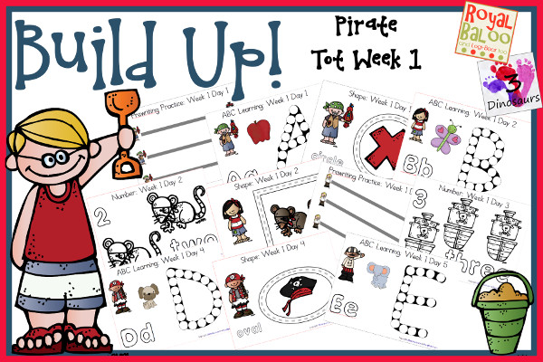 Build Up Summer Learning: Week 1 Pirate - Tot: Prewriting, Alphabet: A, B, C, D, E, Shapes: circle, square, triangle, oval & rectangle, Numbers: 1, 2, 3, 4, 5 - 3Dinosaurs.com