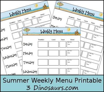 Free Summer Weekly Menu Printable - 3Dinosaurs.com