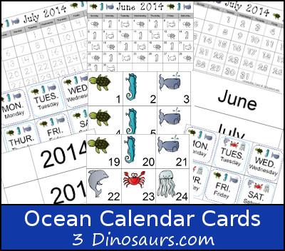 Free Ocean Calendar Set- 3Dinosaurs.com