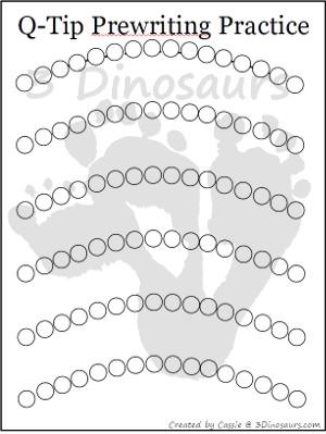 Free Q-Tip Prewriting Printables - 3Dinosaurs.com