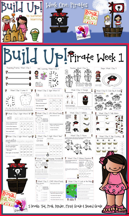 Build Up Summer Learning: Week 1 Pirate - Levels: Tot, Prek, Kinder, First Grade & Second - Sight Words, ABCs, Numbers, Shapes, Word Families, Language & Math - 3Dinosaurs.com & RoyalBaloo.com