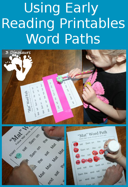 Using Early Reader Printables: BOB Books Set 1 Book 1 Word Paths- 3Dinosaurs.com