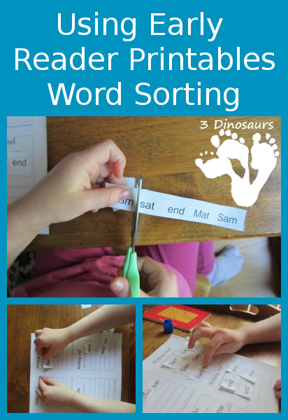 Using Early Reader Printables: Word Sorting -  BOB Books Set 1 Book 1 - 3Dinosaurs.com