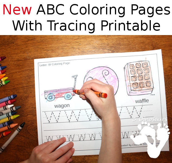 NEW ABC Coloring  Tracing Printable  3 Dinosaurs