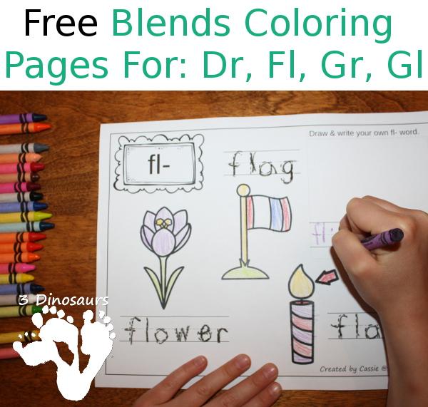 Free Blends Coloring Pages Dr Fl Fr Gl 3dinosaurs: Fr Blend Worksheets At Alzheimers-prions.com
