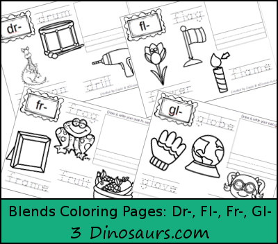 Free Blends Coloring Pages: Dr, Fl, Fr, Gl