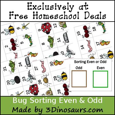 Free Bug Sorting Even & Odd - 3Dinosaurs.com