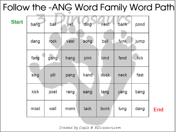 Free CVCC Word Family Word Path ANG ING ONG UNG – In Word Family Worksheets