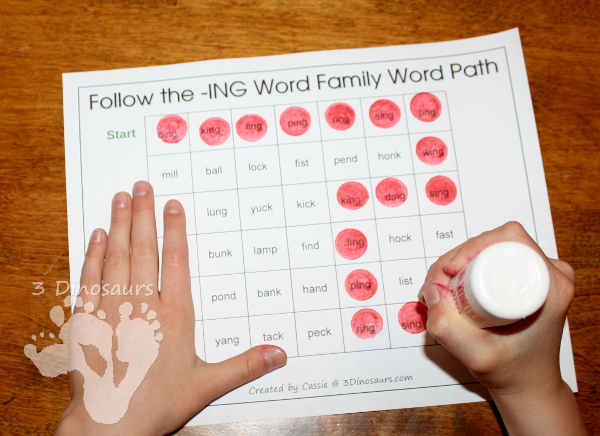 Free CVCC Word Family Word Path: -ANG, -ING, -ONG, - UNG - 3Dinosaurs.com