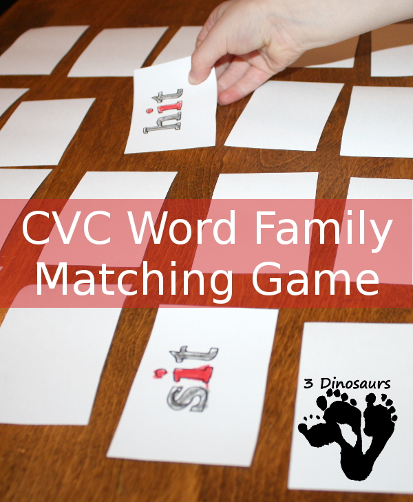 CVC Rhyming Word Matching Game - 3Dinosaurs.com