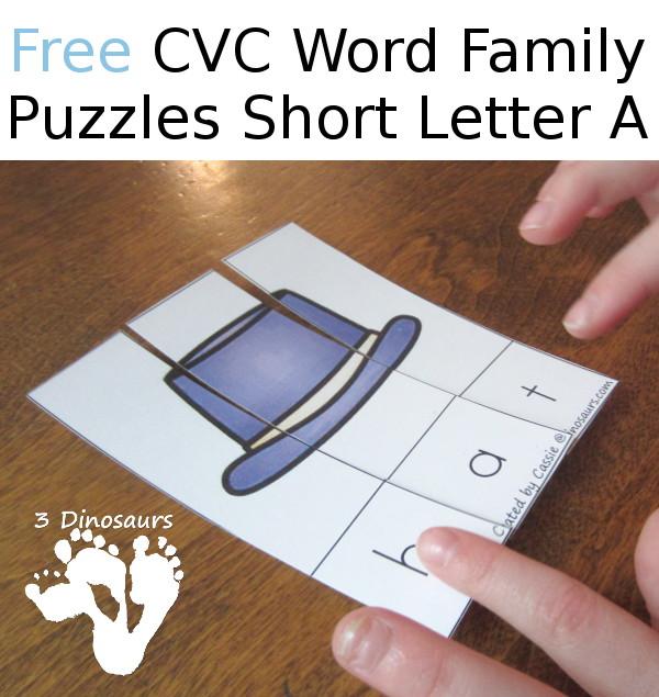 Free CVC Word Family Puzzles Short A - 3Dinosaurs.com