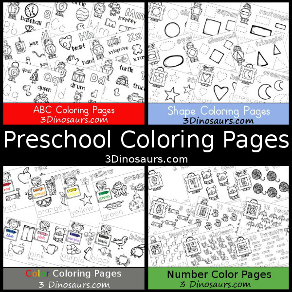 Preschool Coloring Pages on 3 Dinosaurs: ABCs, Numbers, Shapes, and Colors - 3Dinosaurs.com
