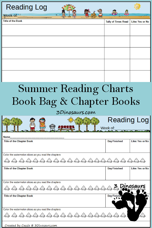 Free Weekly Summer 2015 Reading Charts: Book Log & Chapter Books - 3Dinosaurs.com