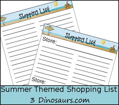 Free Summer Shopping List Printable - 3Dinosaurs.com