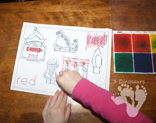 Different Ways to use Color Coloring Pages: Foam Blocks and Stamp Pad - 3Dinosaurs.com