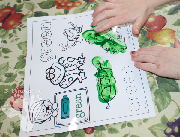 Different Ways to use Color Coloring Pages: Finger Paints - 3Dinosaurs.com