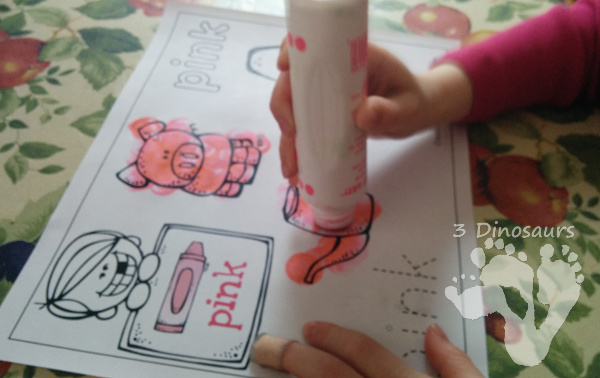 Different Ways to use Color Coloring Pages: Dot Markers - 3Dinosaurs.com