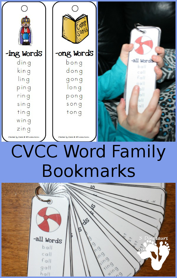 Free CVCC Word Family Bookmarks. 4 Bookmarks per page - The following endings: -all, -ill, -ell, -ull, -ing, -ang, -ung, -ong, -ast, -ist, -ust, -ost, -est, -ack, -ick, -ock, -uck, -and, -end, -ind, -ond, -und, ink, -unk, -onk, -amp, -imp, -ump - 3Dinosaurs.com