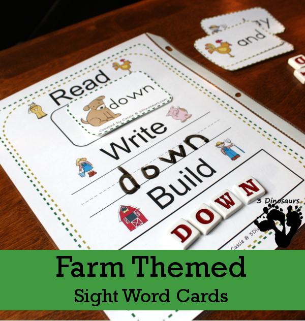 Farm Themed Sight Word Cards - 3Dinosaurs.com