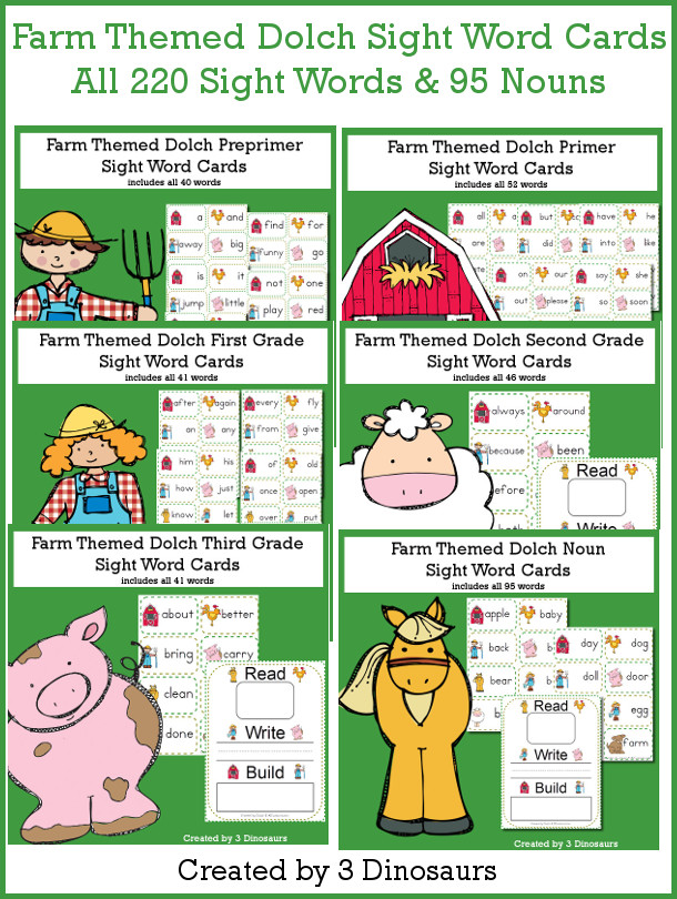 Farm Themed Sight Word Cards - All 220 Dolch Sight Words & 95 Nouns $ - 3Dinosaurs.com