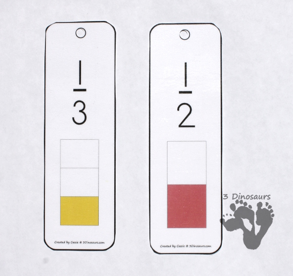 Free Fraction Bookmarks -  13 pages of fractions with 4 bookmarks per page - fractions for 2, 3, 4, 5, 6, 8, 10, 12 - 3Dinosaurs.com