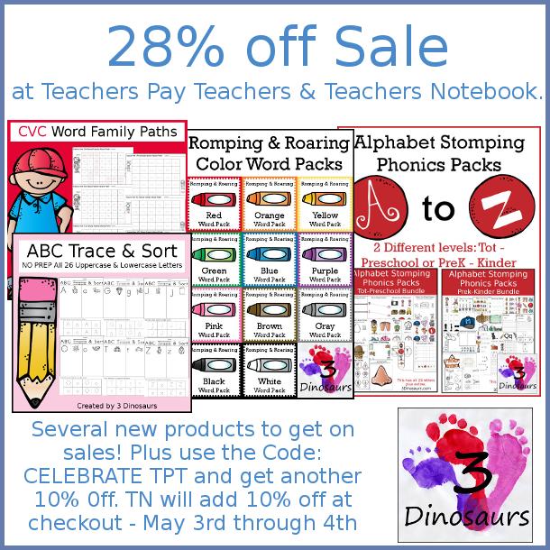 20% Teacher Appreciation Sale - May 3rd-4th! - 3Dinosaurs.com