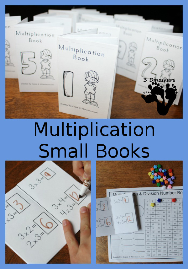 Free Multiplication Small Books - 2 different types of book options - 3Dinosaurs.com