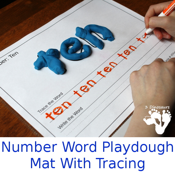 Free Number Word Playdough Mats with Tracing - 3Dinosaurs.com