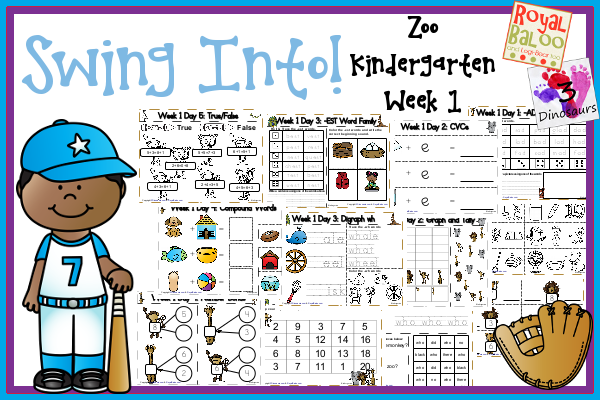 Swing Into Summer Learning: Week 1 Zoo - Kinder: Sight Words: who, black, no, there, did; Word Family: (The Bug in the Jug Wants a Hug) -ad, -ob, -ub, -all, -est; Math  and Language- 3Dinosaurs.com