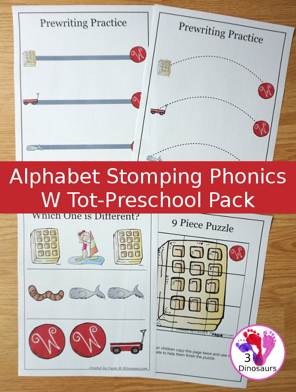 Free Alphabet Stomping Phonics W Tot-Preschool Pack - 20 pages of printables - 3Dinosaurs.com