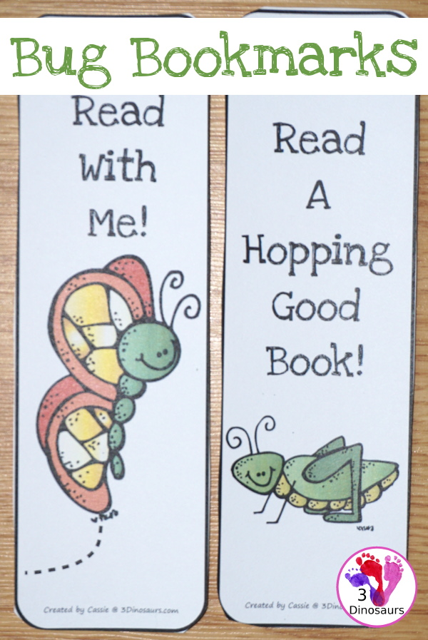 Free Bug Themed Bookmarks - 8 bookmarks in all with fun saying for kids - 3Dinosaurs.com