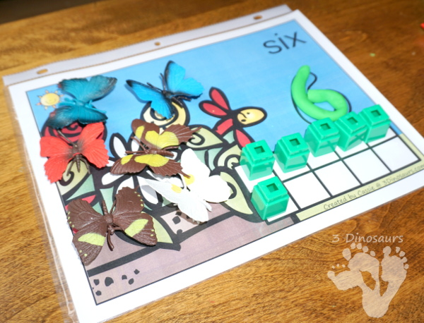 Free Hands-On Bug Themed Counting Mats: 1 to 10 - 10 different mats with two options for bugs and insects - 3Dinosaurs.com