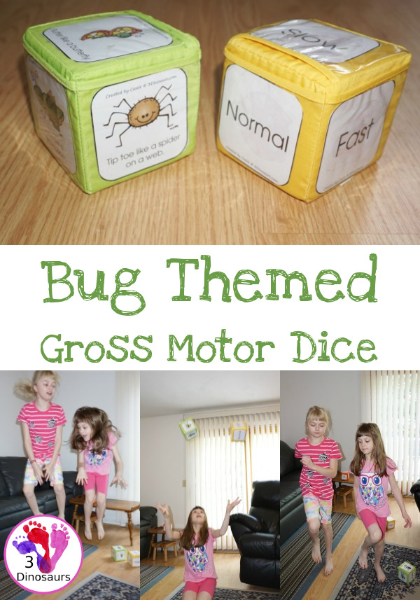 Free Wiggly And Squirm With The Bug Gross Motor Dice - with 6 different movements and speed dice - 3Dinosaurs.com