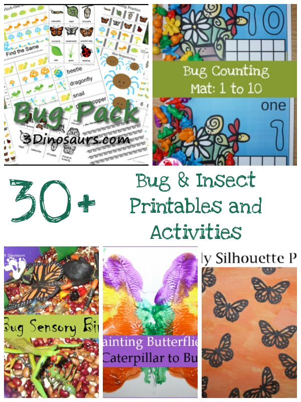 30+ Bug & Insect printables, activities, craft, books and more - 3Dinosaurs.com
