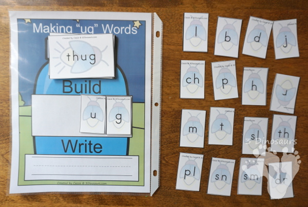 Free Hands-On Mat for Making UG Word Family Words - fun way to work on building the different types of ug words with a firefly theme - 3Dinosaurs.com