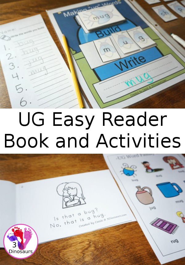 UG Easy Reader Book and Activities - 40 pages if hands-on and no-prep activities for the ug words family words - 3Dinosaurs.com