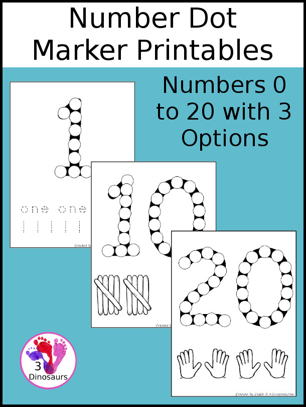 Free Number Dot Marker Pages 0 to 20 | 3 Dinosaurs